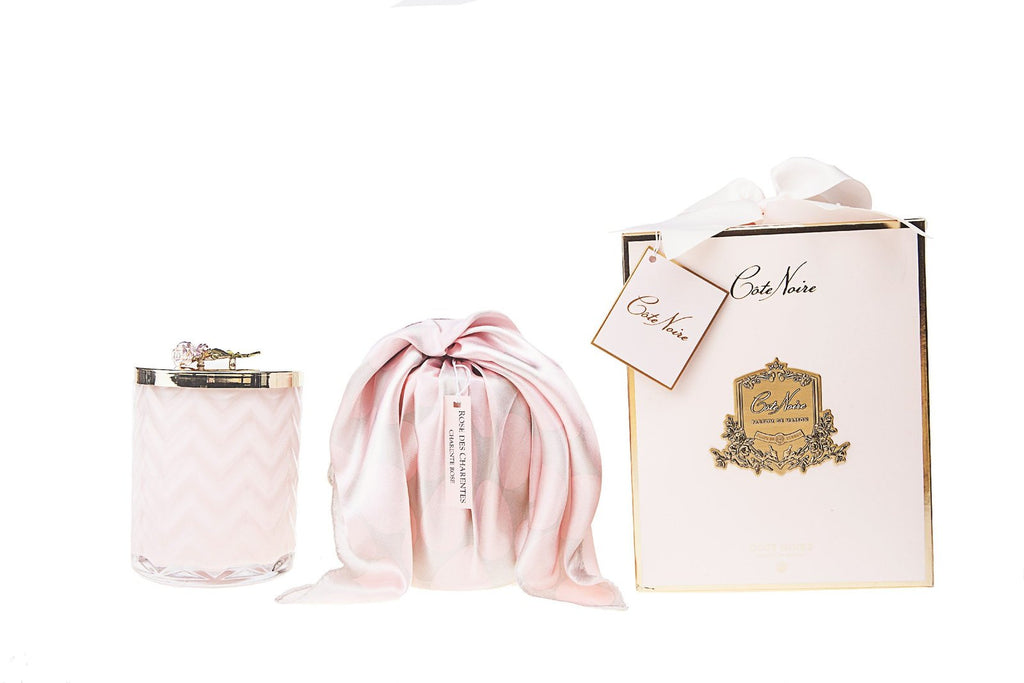 Pink Herringbone Candle with silk scarf and Pink Rose lid