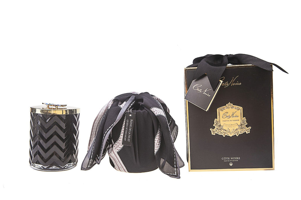 Black Herringbone Candle with Silk Scarf and  Bee on the lid
