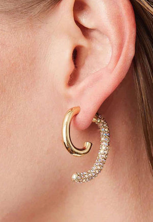 Pave Crystal Luna Gold Convertible Earrings