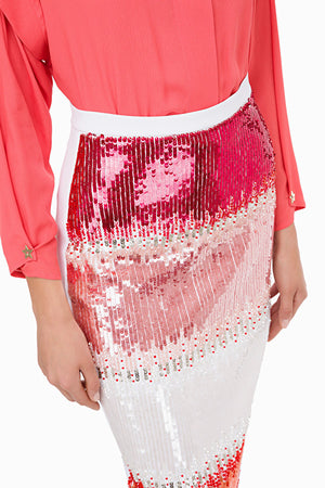 White Pink Embroidered Pencil Skirt