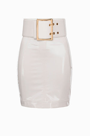 White Vinyl Mini Skirt With Maxi Belt