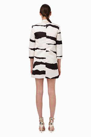 Black White Boxy Print Dress