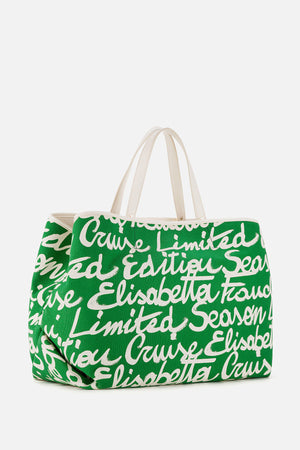 Bag with Maxi Text Print in Ivory/Black
