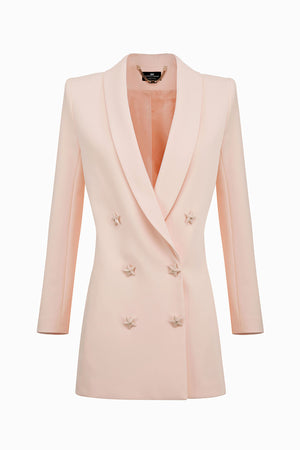 Dusty Rose Long Jacket with Star Buttons