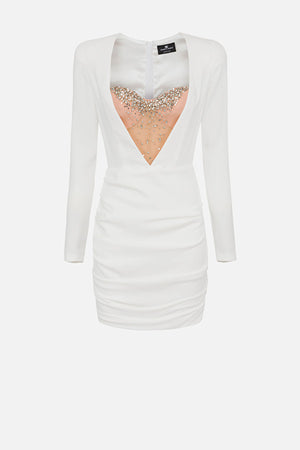 White Mini dress with Bustier in Rhinestones