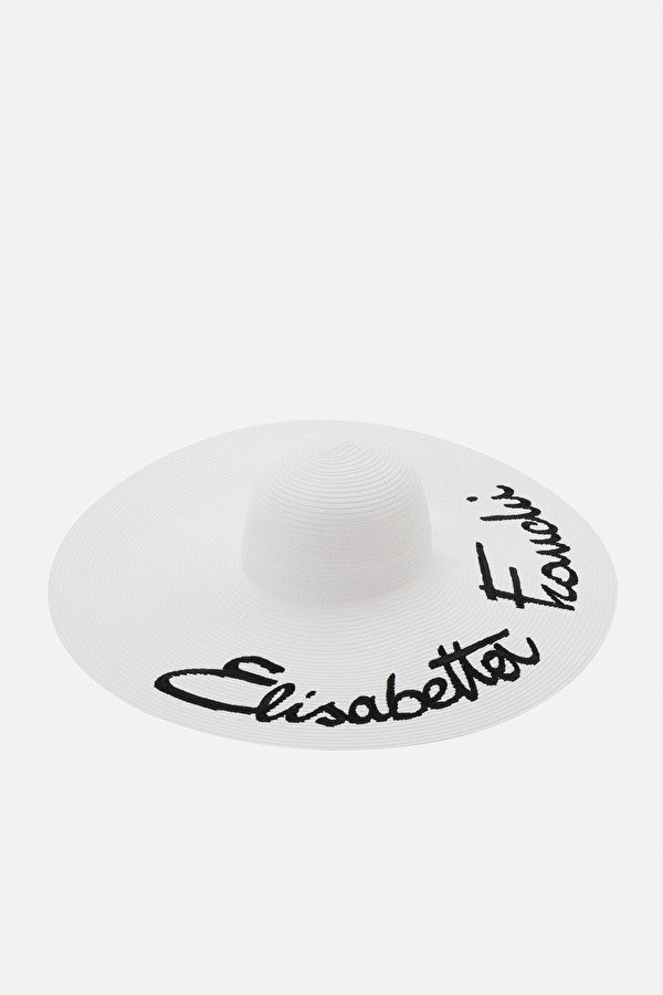 Ivory Flat Brimmed Hat with Embroidery