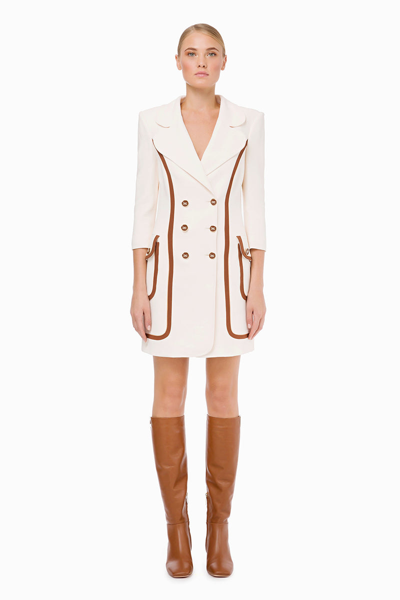 Ivory/Coffee Blazer Style Dress