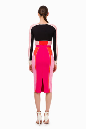 Bubblegum Color-block Pencil Skirt