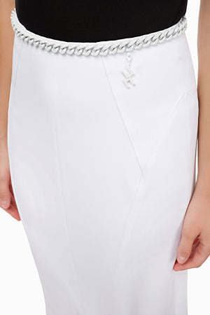 Ivory Pencil Skirt with chain
