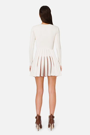 Ivory/Chocolate Long Sleeve Dress with contrasting pleats