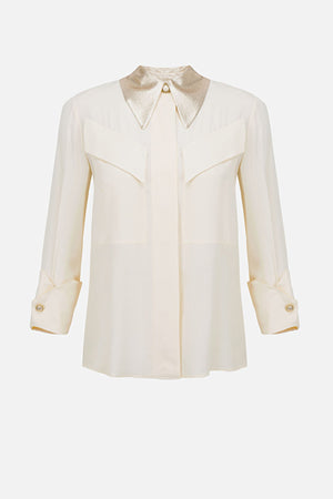 Ivory Crepe Blouse with Gold  Lame Collar
