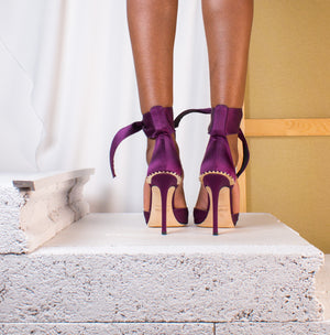 Purple Satin Bow and Gold Crown Pumps