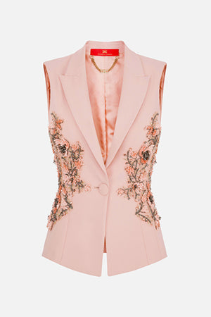 Antique Rose sleeveless Jacket with embroideries