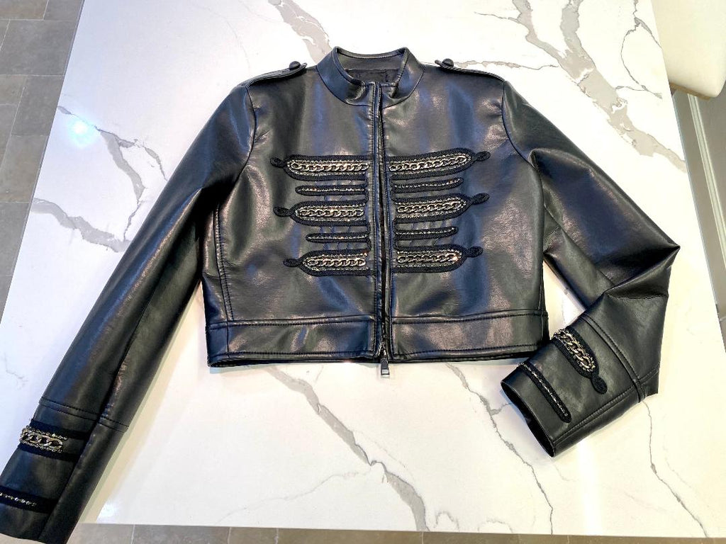 Black crop military style leather jacket