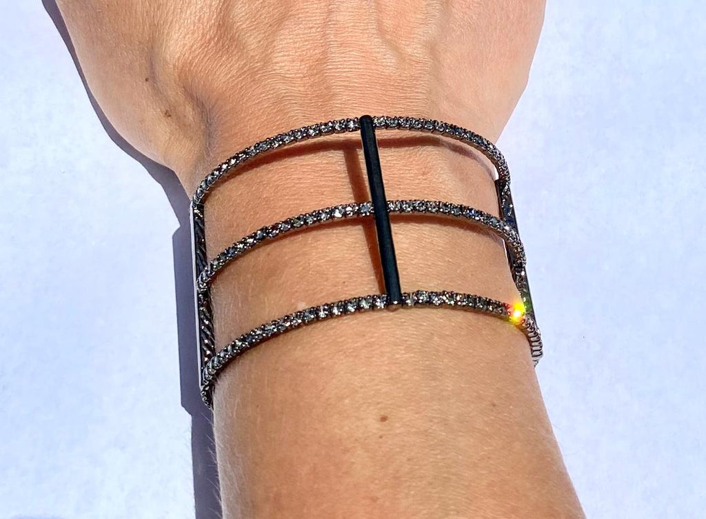Gun metal Triple Single Row bracelet