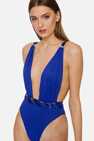 Cobalt blue One-piece Swimsuit with embroidery