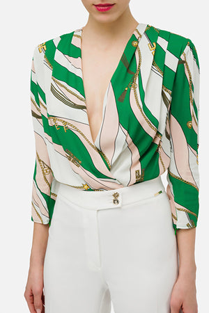 Green/Rose Silk Print Bodysuit
