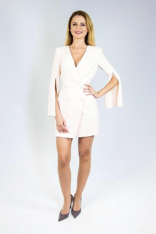 Dusty Rose Jacket Style Dress with Long Sleeves