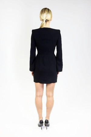Black Jacket Style dress with long sleeves with slits