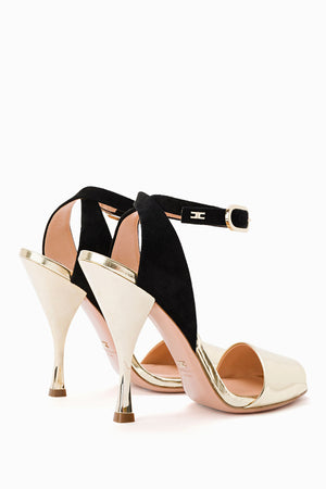 Gold Black Sandals with Strap