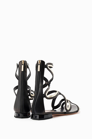 Black Gold Flat Gladiator Sandals