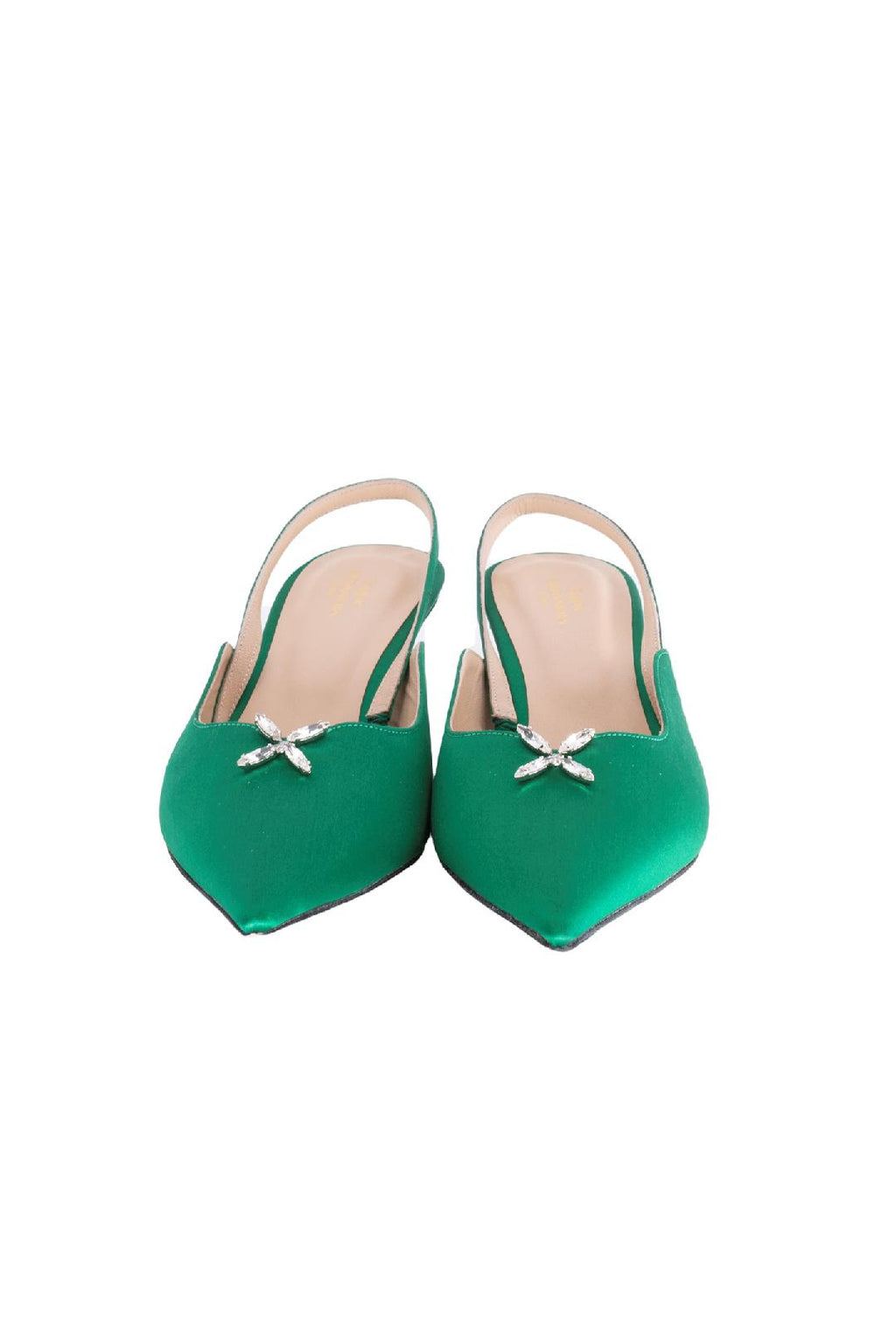 Emerald Green Satin Swarovski Crystal Kitten Heel Pump