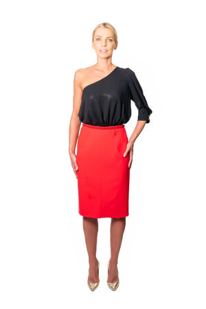 Red Pencil Skirt with Chain