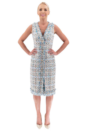 Multi Tweed Sleeveless Dress with Buttons