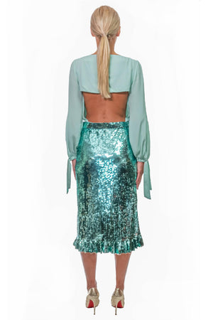 Aquamarine Sequin Midi Skirt with Heart