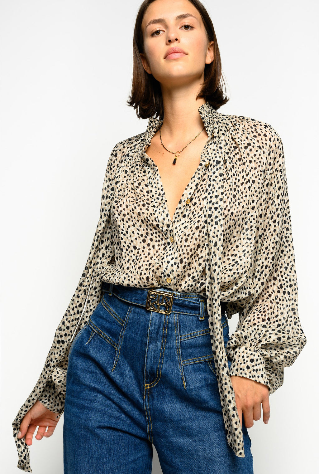 Supple Blouse in Micro Leopard Print fil Coupe