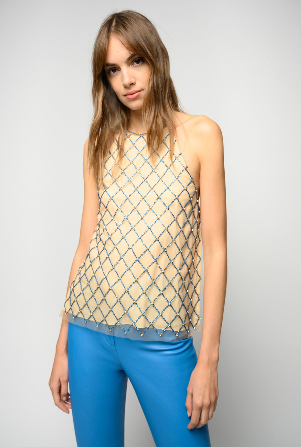 Tan/Blue Top with crystal embroidered mesh