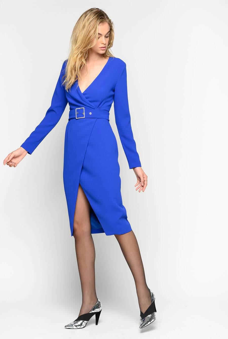 Royal Blue Midi Dress with Belt