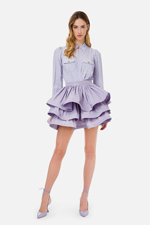 Lilac Skirt in Ottoman fabric with maxi flounces