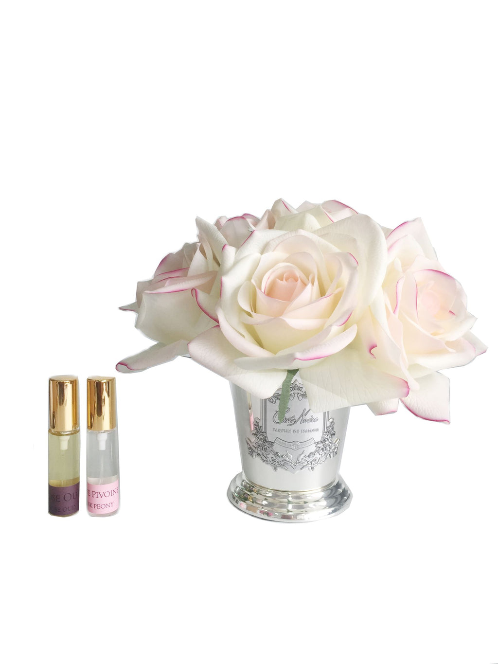 Blush 7 Rose bouquet diffuser in Silver Vase