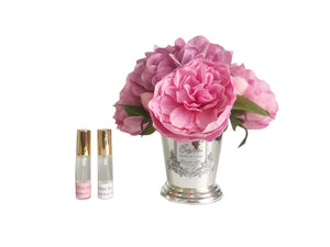 Pink Peony Bouquet Flower Diffuser in silver Vase