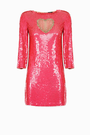Pink Sequined Cocktail Dress