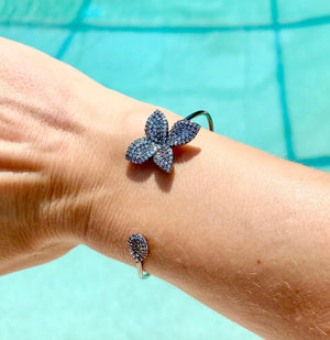 Gun metal Petite Plumeria Open Bangle with micro pave zirkonia