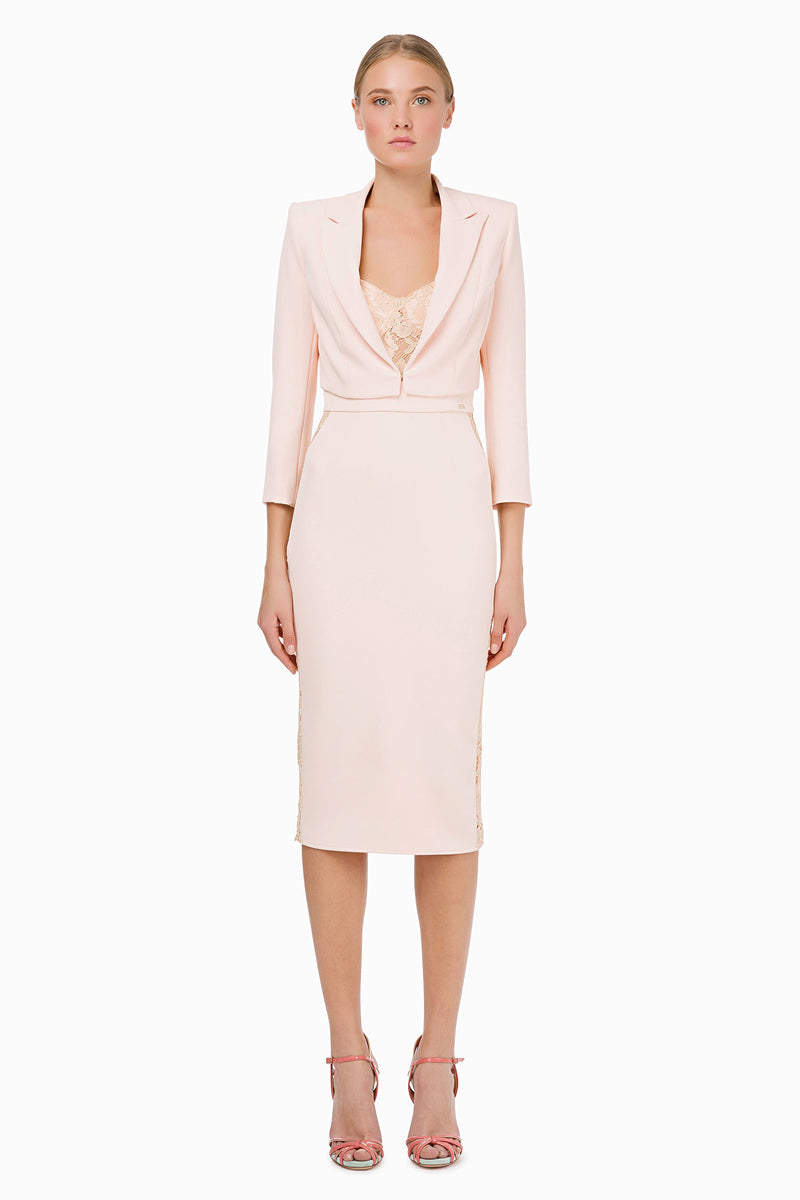 Dusty Rose Pencil Dress with Lace Inserts and Bolero Jacket Outfit
