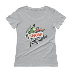 Snowboarders Scoopneck Color Logo Front & Back Print T-Shirt