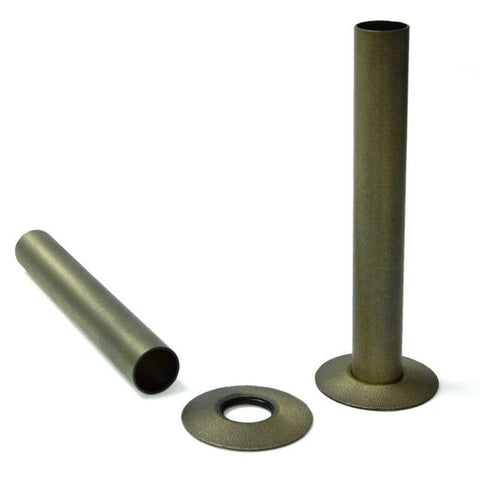 Radiator Pipe Covers - Old English Brass Sleeves and Collars (for 15mm Pipes)