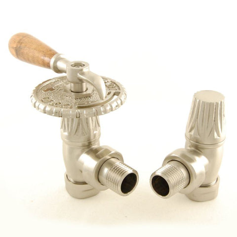 Bentley Lever Traditional TRV Radiator Valves - Brushed Satin Nickel