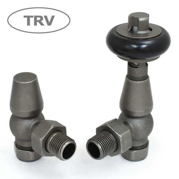 Faringdon Traditional Angled Thermostatic Radiator Valves Set - Pewter