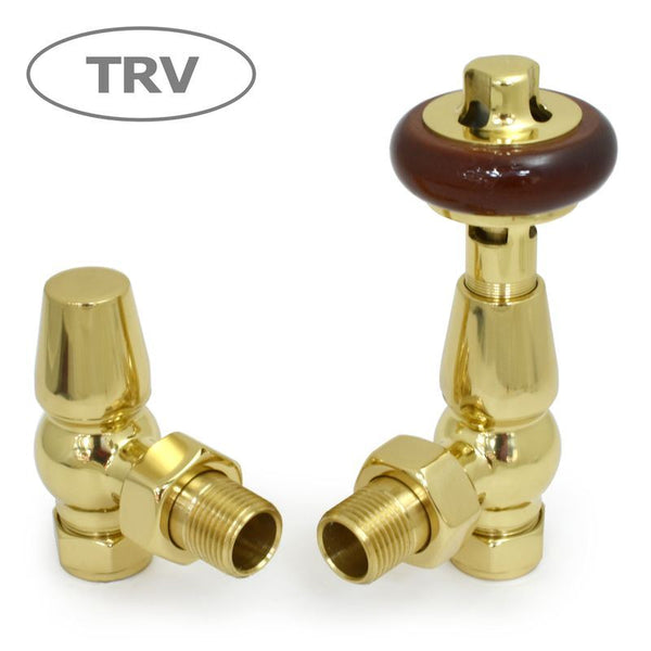 Faringdon Traditional Angled Thermostatic Radiator Valves Set - Brass