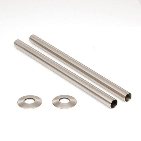 Radiator Pipe Covers (30cm) - Brushed Nickel Sleeves & Collars (for 15mm Pipes)