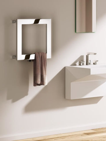 Reina Square Designer Radiators | 450mm X 450mm Polished Stainless Steel Towel Radiator