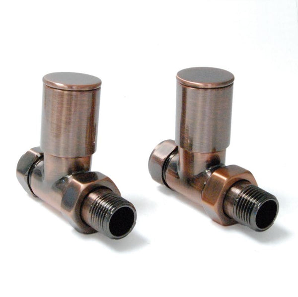 Milan Straight Radiator Valves - Antique Copper