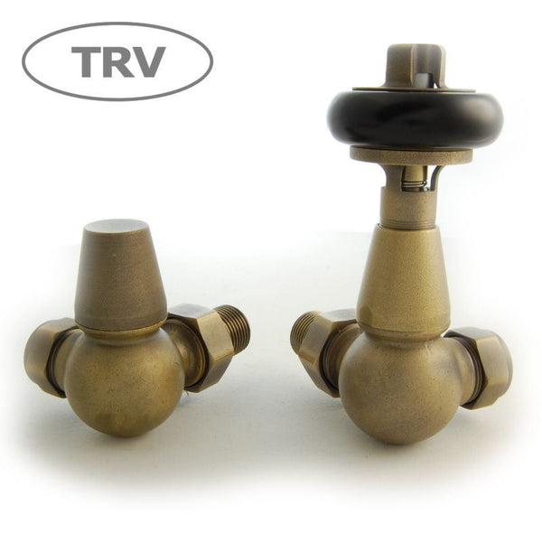 Faringdon Traditional Corner Thermostatic Radiator Valves  - Old English Brass TRV
