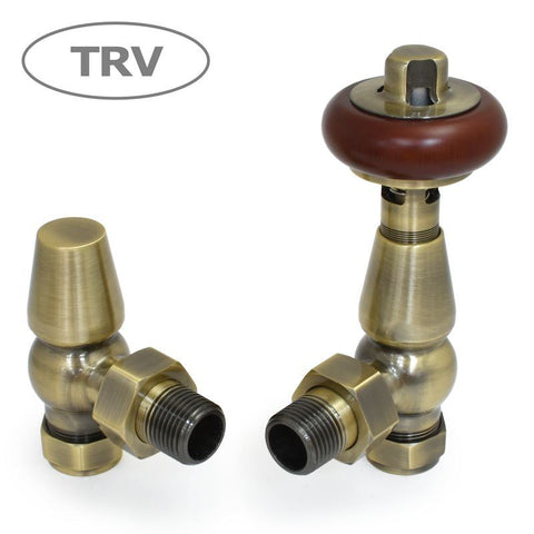Faringdon Traditional Angled Thermostatic Radiator Valves Set - Antique Brass