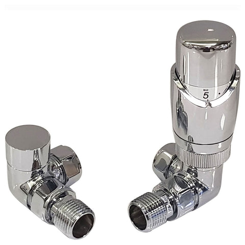 Caldo Thermostatic Radiator Valve Set - Chrome Radiator Valves inc. Corner TRV & Lockshield