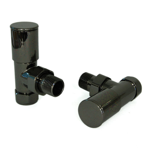 Milan Angled Radiator Valves - Black Nickel